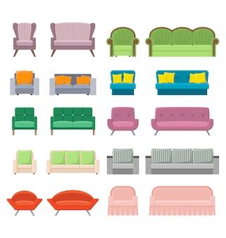 Conjunto de sofás e poltronas em estilo simples, ilustração colorida de vetor de canapés modernos