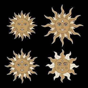 Conjunto de sóis celestiais com rosto e olhos abertos desenho estilizado carta de tarô elementos místicos