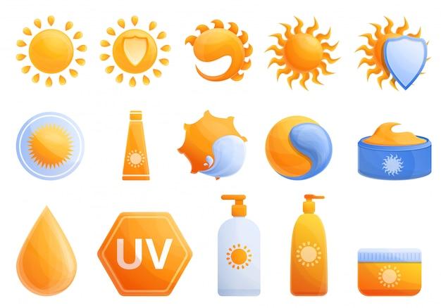 Conjunto de sol cosmético, estilo cartoon