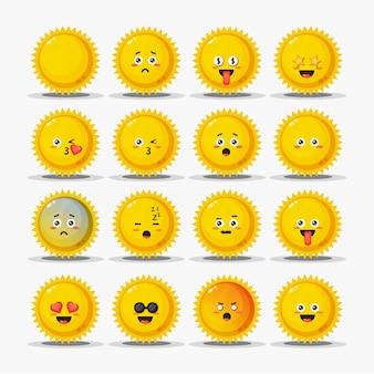 Conjunto de sol fofo com emoticons