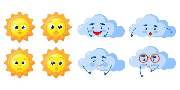 Conjunto de sol kawaii e nuvens isoladas no fundo branco