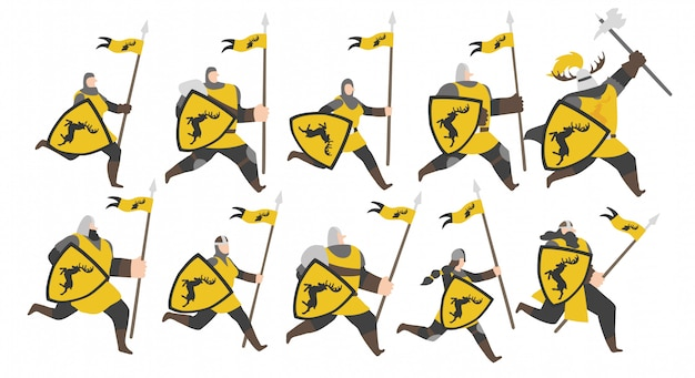 Conjunto de soldados do exército de veado dourado