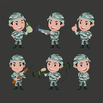 Conjunto de soldados do exército homem de uniforme com ação diferente