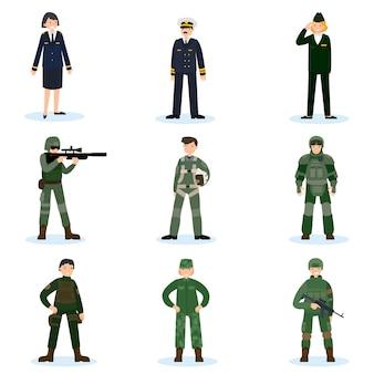 Conjunto de soldados do exército