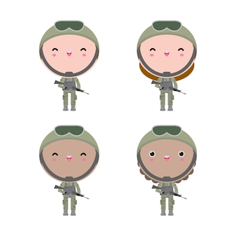Conjunto de soldados menino e menina. design de personagens de desenhos animados plana isolado no fundo branco