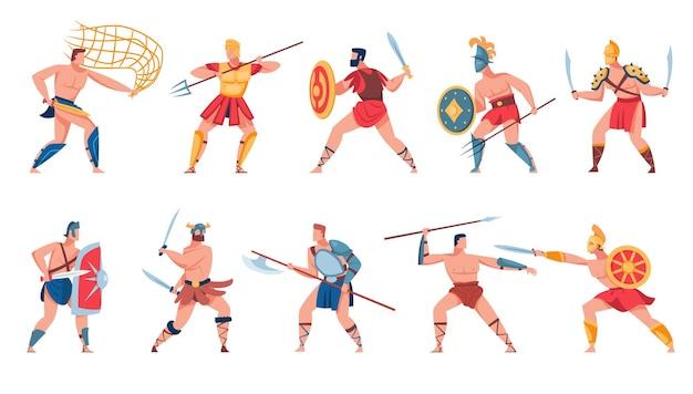 Conjunto de soldados romanos antigos. ilustração plana