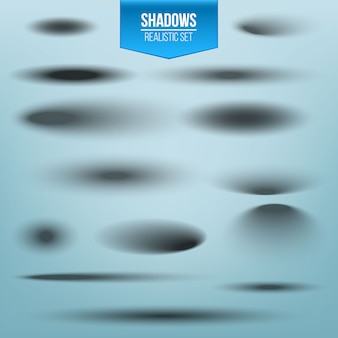 Conjunto de sombra redonda e oval com bordas suaves.