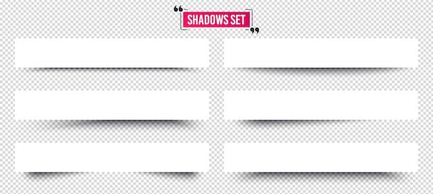 Conjunto de sombras de banner. divisores de páginas