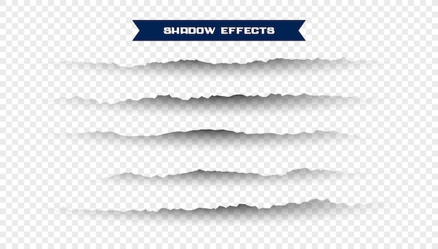 Conjunto de sombras de papel rasgado rasgado