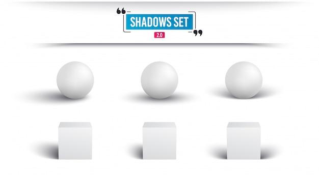 Conjunto de sombras. esfera realista e cubo com sombra.