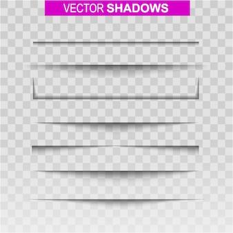Conjunto de sombras. sombra de efeito realista no papel.