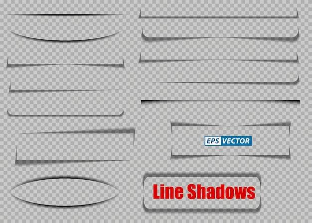 Conjunto de sombras transparentes realistas ou efeito de sombra transparente de papel ou divisor de página de linha de sombra