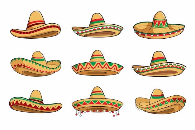 Conjunto de sombrero de chapéu mexicano isolado no branco