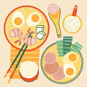 Conjunto de sopa de ramen desenhado à mão