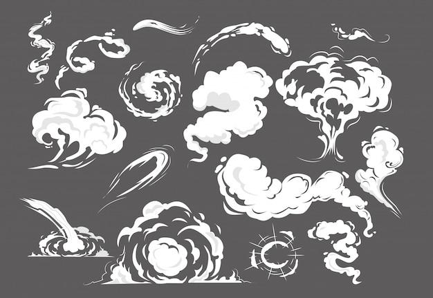 Conjunto de sopros de fumaça em quadrinhos