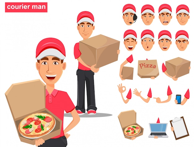 Conjunto de sorridente entregador de uniforme vermelho