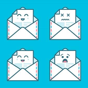Conjunto de sorriso emoji emoticon cara em e-mail com muita variação. design moderno ícones planas.