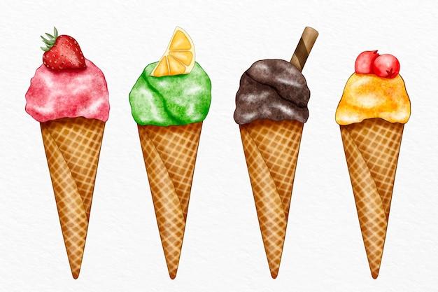 Conjunto de sorvete aquarela pintado à mão