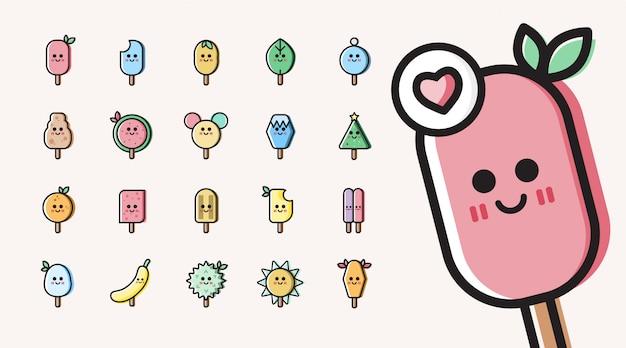 Conjunto de sorvete colorido bonito ícone