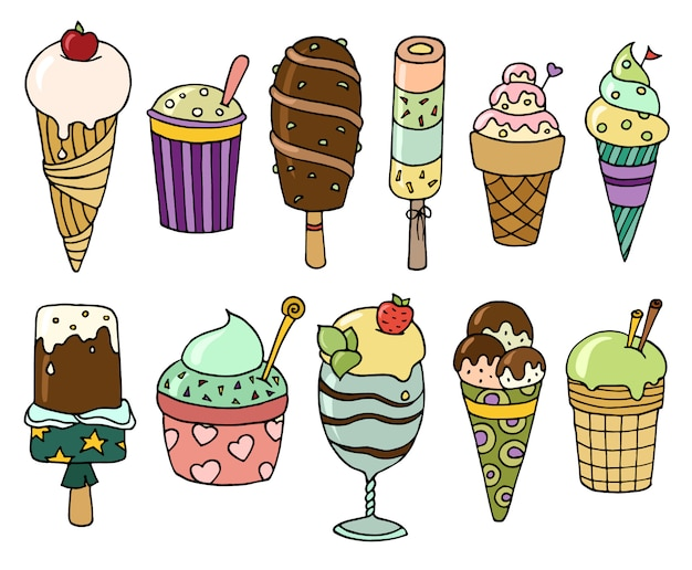 Conjunto de sorvete colorido saboroso dos desenhos animados