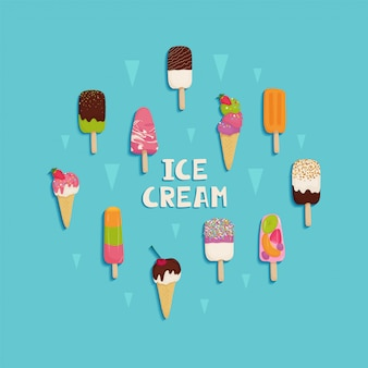 Conjunto de sorvete com chocolate, frutas, nozes, pistache, morangos, cerejas, kiwi, laranja