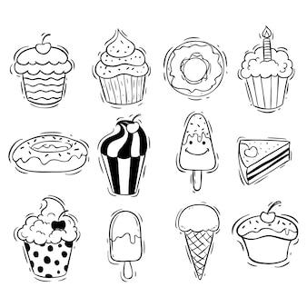 Conjunto de sorvete de cupcake e donut com estilo doodle