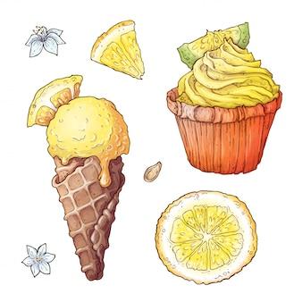Conjunto de sorvete de frutas cítricas e cupcake