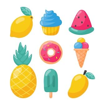 Conjunto de sorvete de frutas tropicais e outros alimentos de verão isolado. ilustração vetorial.
