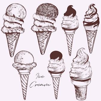Conjunto de sorvete desenhado a mão