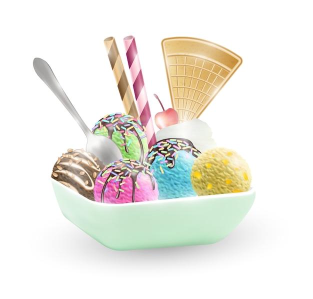 Conjunto de sorvete em uma tigela