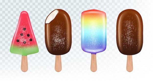 Conjunto de sorvete esquimó. sorvete de frutas e sorvete de chocolate no fundo branco