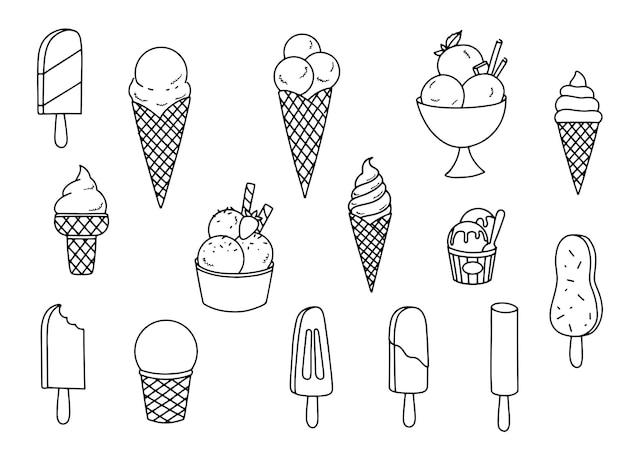 Conjunto de sorvete, ilustração de mão desenhada. todos os tipos de deliciosos doces de gelo. ícones isolados para o menu de verão. ilustrações elegantes mínimas