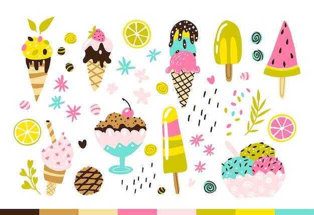 Conjunto de sorvete ilustrações desenhadas à mão em vetor moderno e moderno de doces congelados em formas diferentes