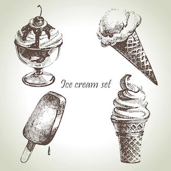 Conjunto de sorvete. ilustrações desenhadas à mão