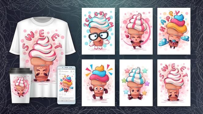 Conjunto de sorvete - pôster e merchandising.