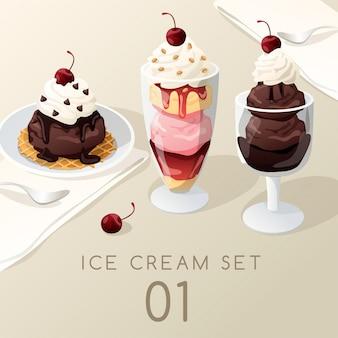 Conjunto de sorvete sundae.