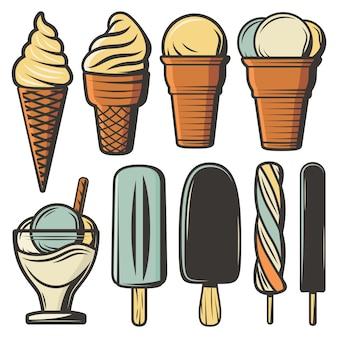 Conjunto de sorvetes coloridos vintage