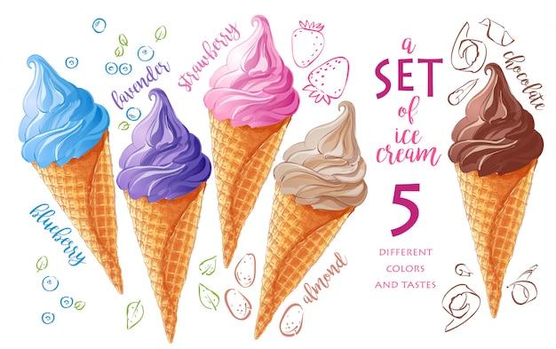 Conjunto de sorvetes vetoriais