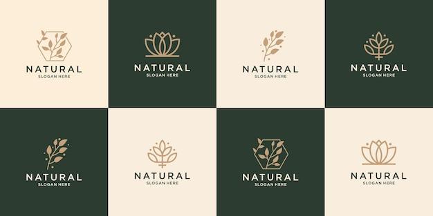 Conjunto de spa de design de logotipo de beleza de coleção, salão de beleza, cuidados com a pele, ioga e salão de beleza.