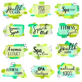 Conjunto de spa e letras de fitness