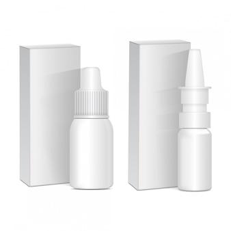 Conjunto de spray anti-séptico nasal ou ocular. frasco de plástico branco com caixa. resfriado comum, alergias. realista