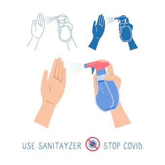 Conjunto de spray antibacteriano e antiviral em mãos