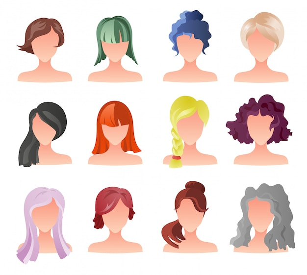 Conjunto de sprites de estilo de cabelo feminino. avatares de garota de vetor.