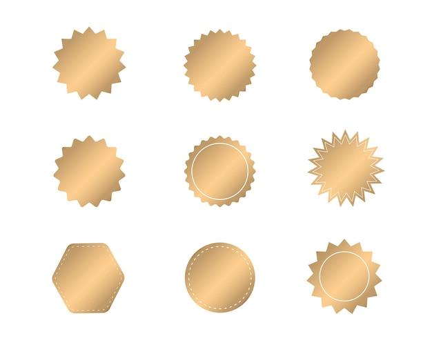 Conjunto de starburst dourado adesivos em branco dourado. etiquetas de emblemas do sunburst