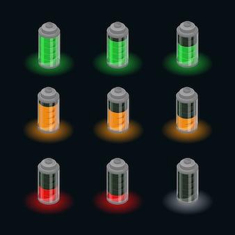 Conjunto de status de carga isométrica da bateria