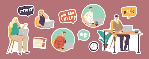 Conjunto de stickers call center hotline, serviço de suporte ao cliente, equipe em headset, comunicação com operador e cliente, especialista em resolver problemas de clientes online. ilustração em vetor desenho animado