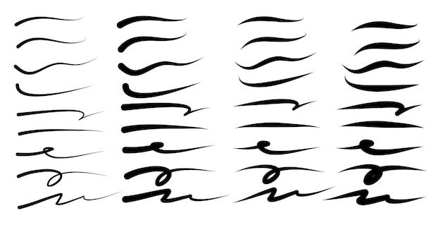 Conjunto de sublinhado desenhado à mão, traços de marcador de realce, swoops, marcas de pincel de ondas