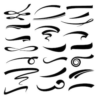 Conjunto de sublinhados de letras à mão