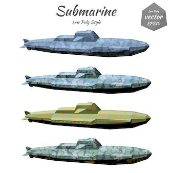 Conjunto de submarinos cáqui isolado no branco
