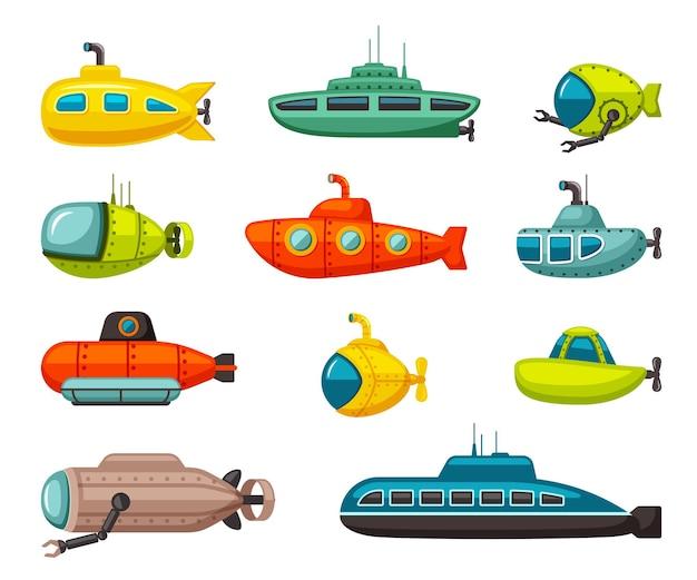 Conjunto de submarinos e batiscafras